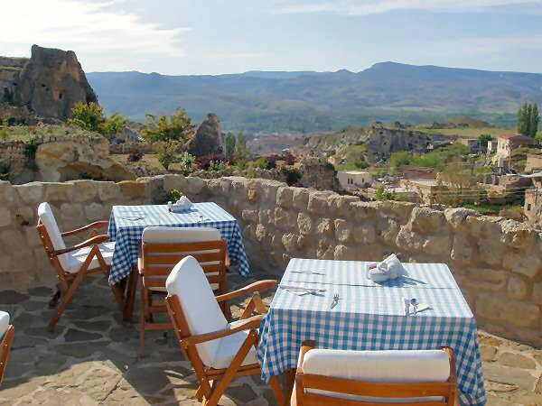 Rooftop Terrace at Esbelli Evi Cave Hotel in Cappadocia, Turkey